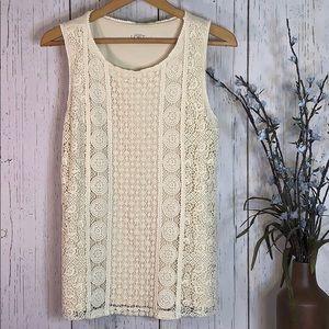 LOFT Cream White Top w/ Lace Patterns